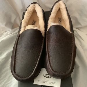 UGG Australia Ascot Brown Leather Fur Slippers 9
